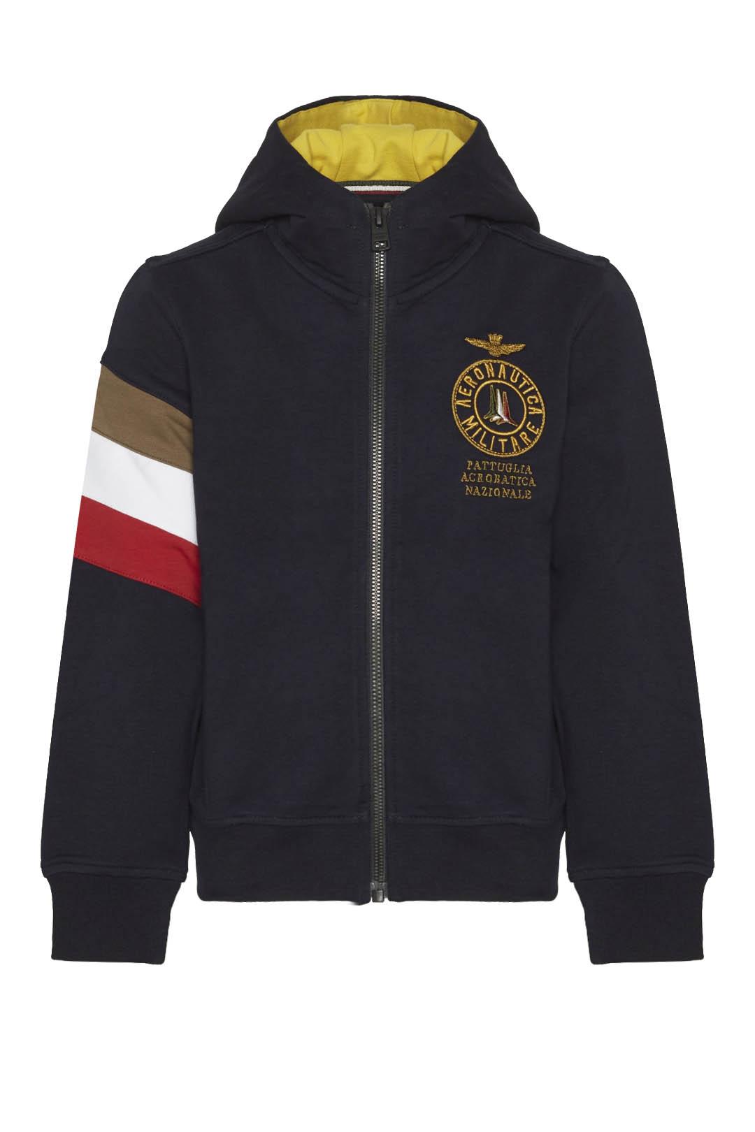 Sweatshirt à capuche et bande tricolore  1