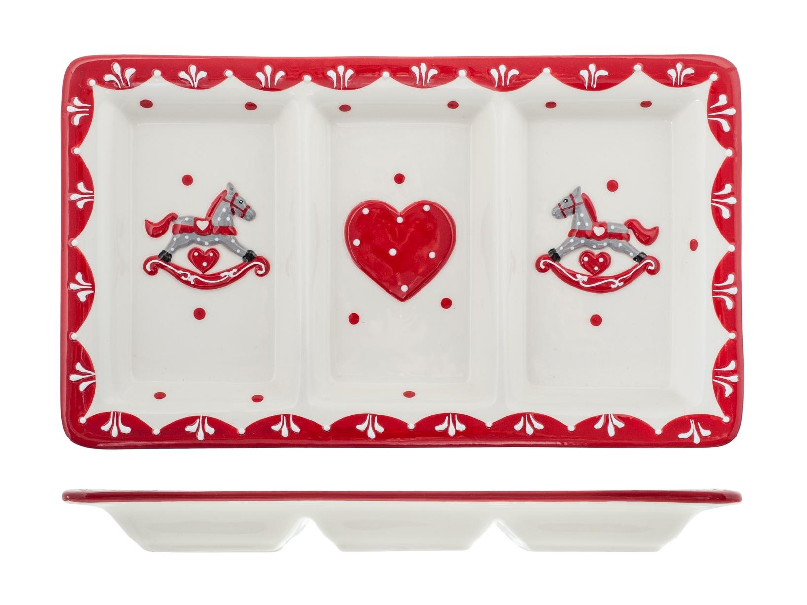 H&h Cavallino Antipastiera Ceramica Rettangolare 3 Posti 29x