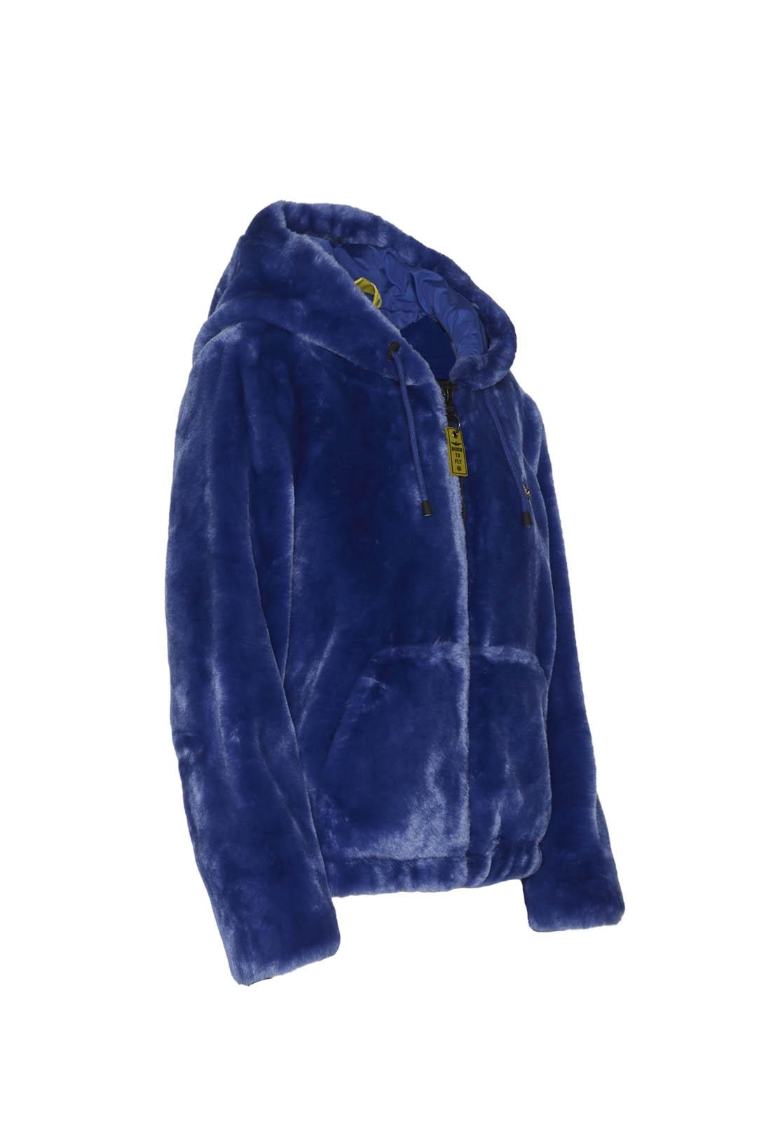 Faux fur hooded bomber jacket            3