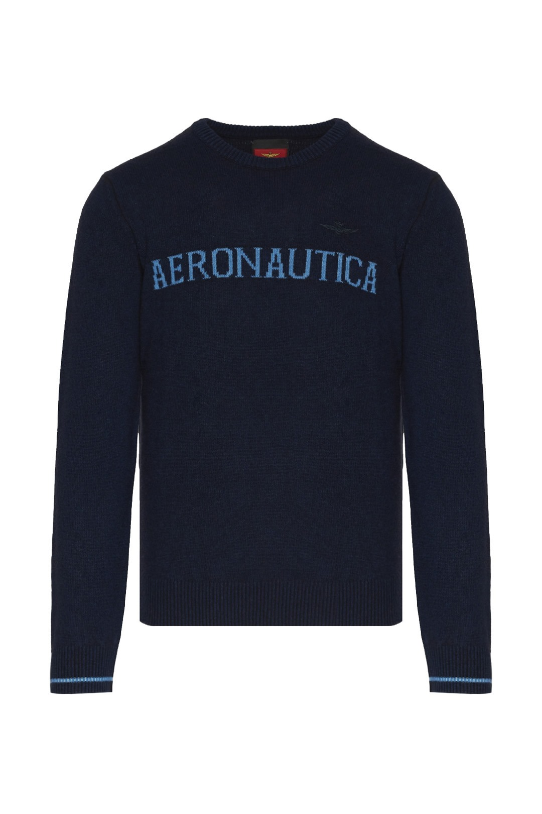 Wool sweater with contrasting logo