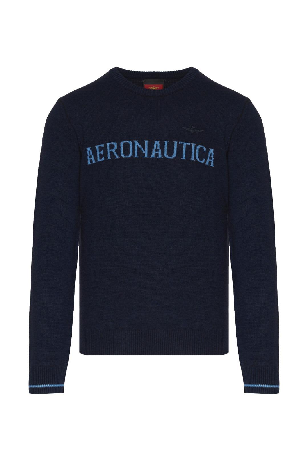 Suéter de lana con logo en contraste