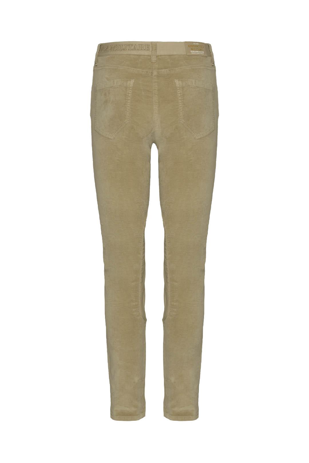 5-pockets velvet trousers with satin     2