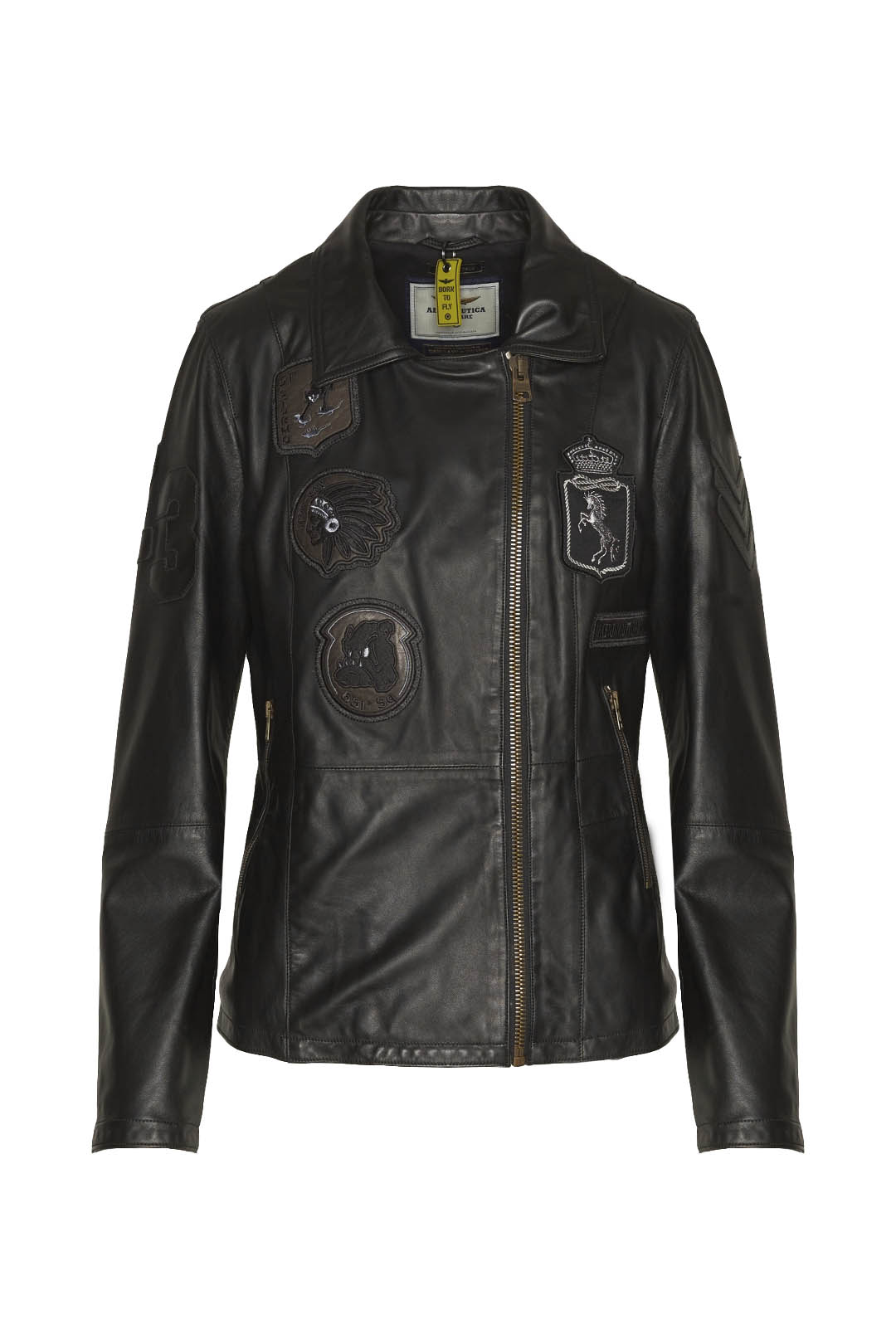 Multipatches buff leather aviator coat   1
