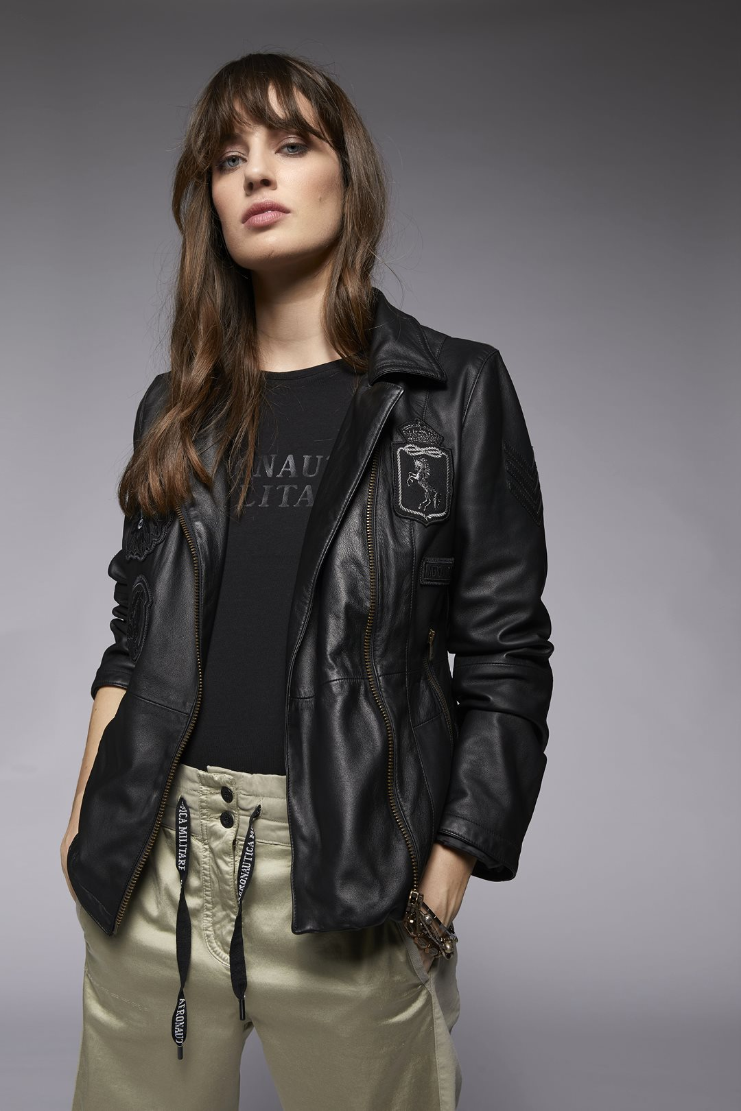Made in Italy Lederjacke mit Patches     4