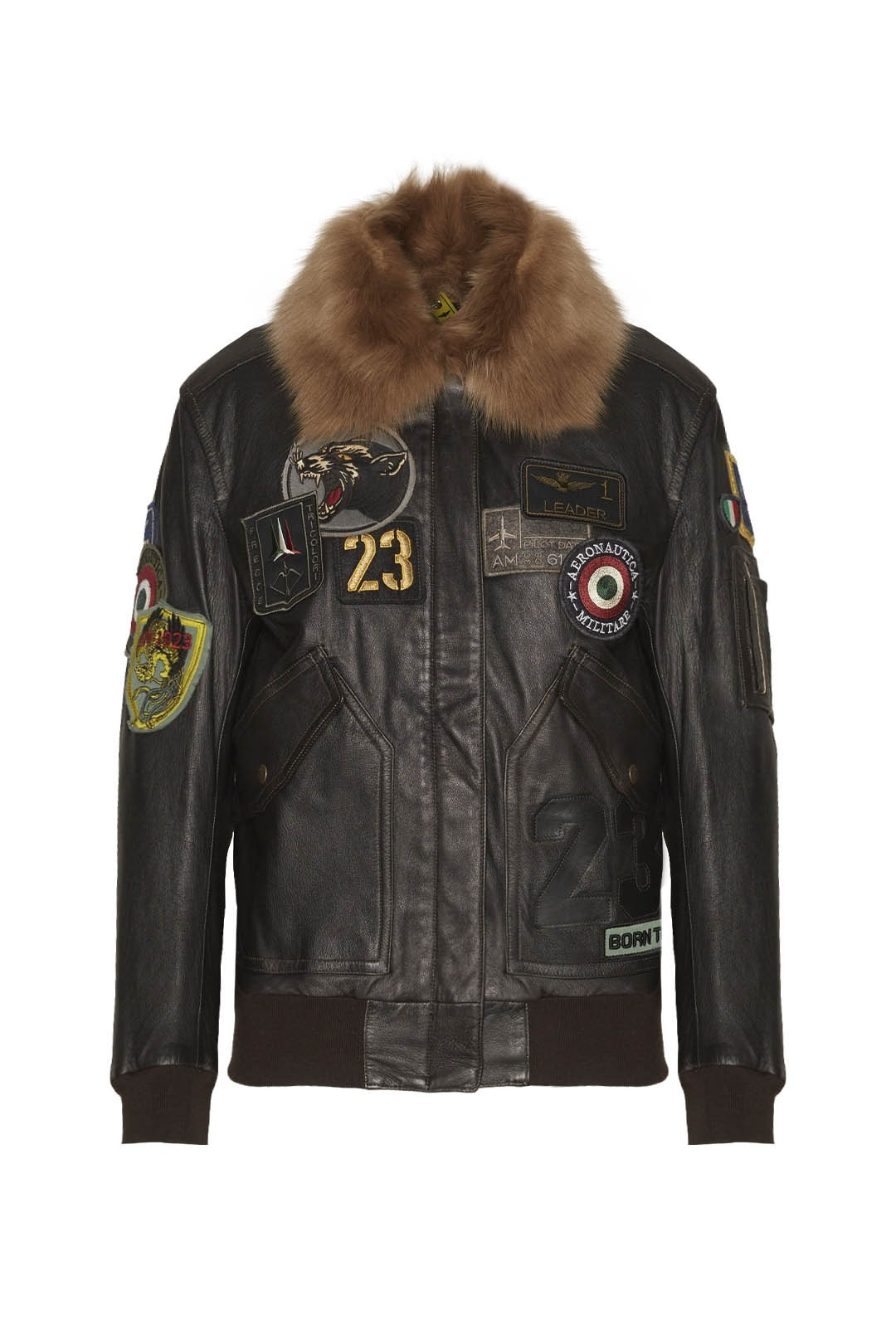 Collared leather Pilot jacket with patch 1