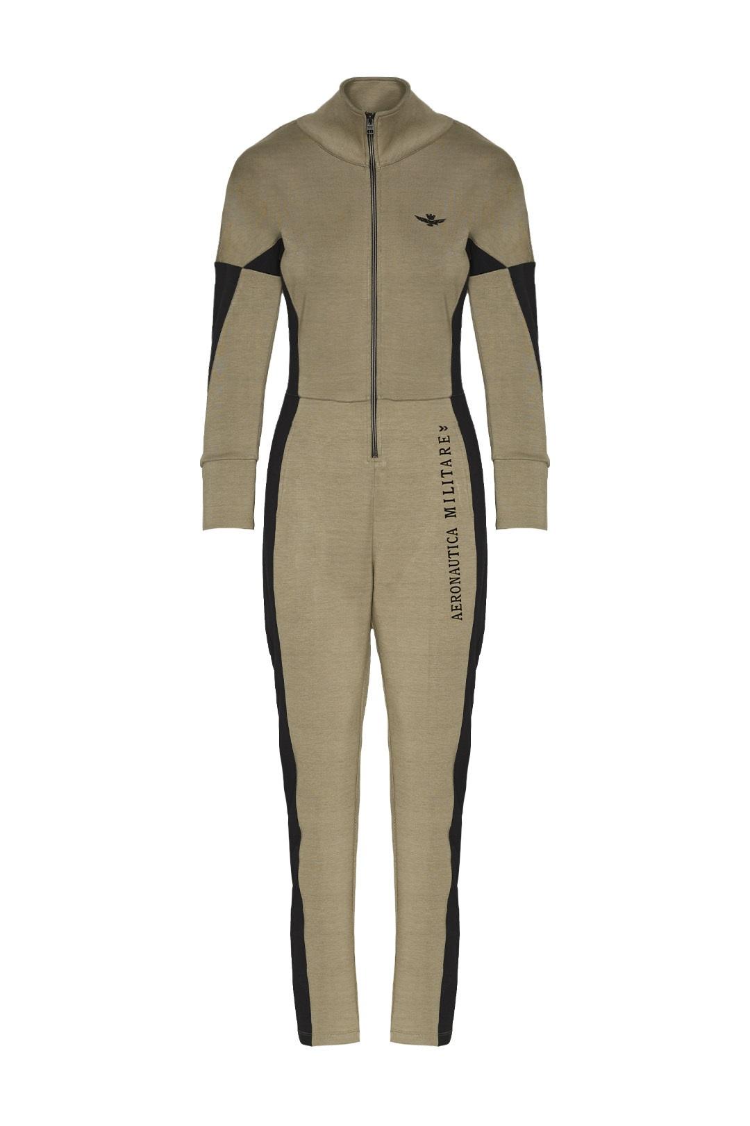 Interlock jumpsuit with flared sleeves