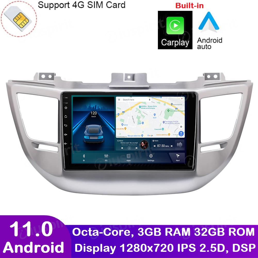 ANDROID autoradio navigatore per Hyundai Tucson 3 2015-2018 CarPlay Android Auto GPS USB WI-FI Bluetooth 4G LTE