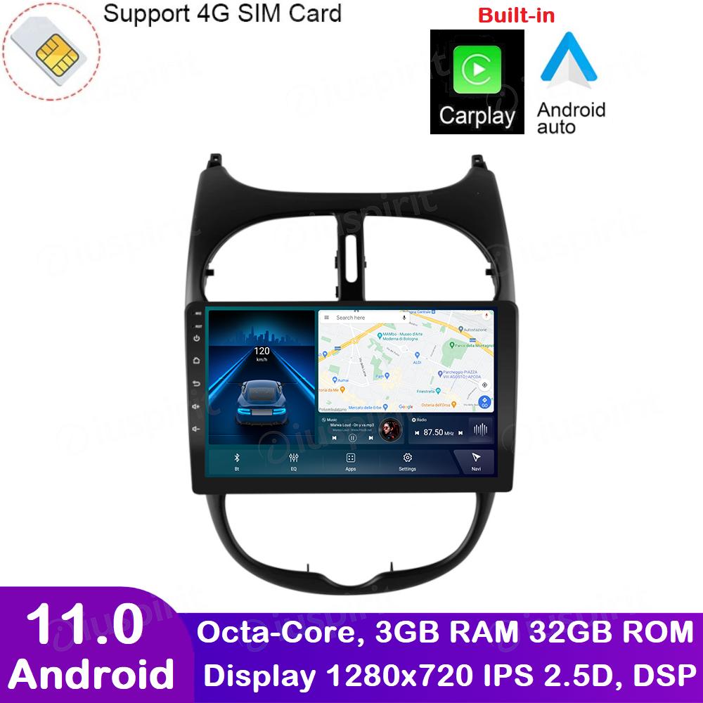 ANDROID autoradio navigatore per Peugeot 206 2000-2008 CarPlay Android Auto GPS USB WI-FI Bluetooth 4G LTE
