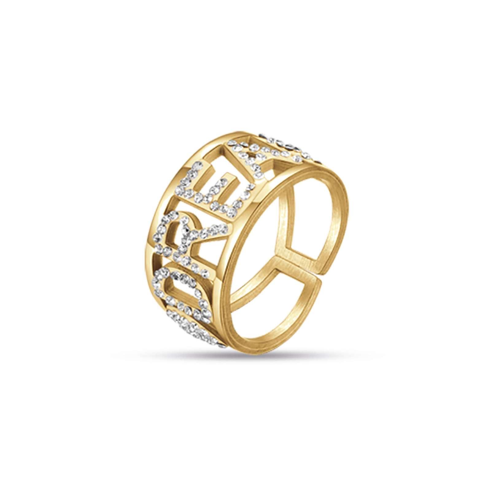 Luca Barra - Anello in acciaio ip gold  dream con cristalli bianchi