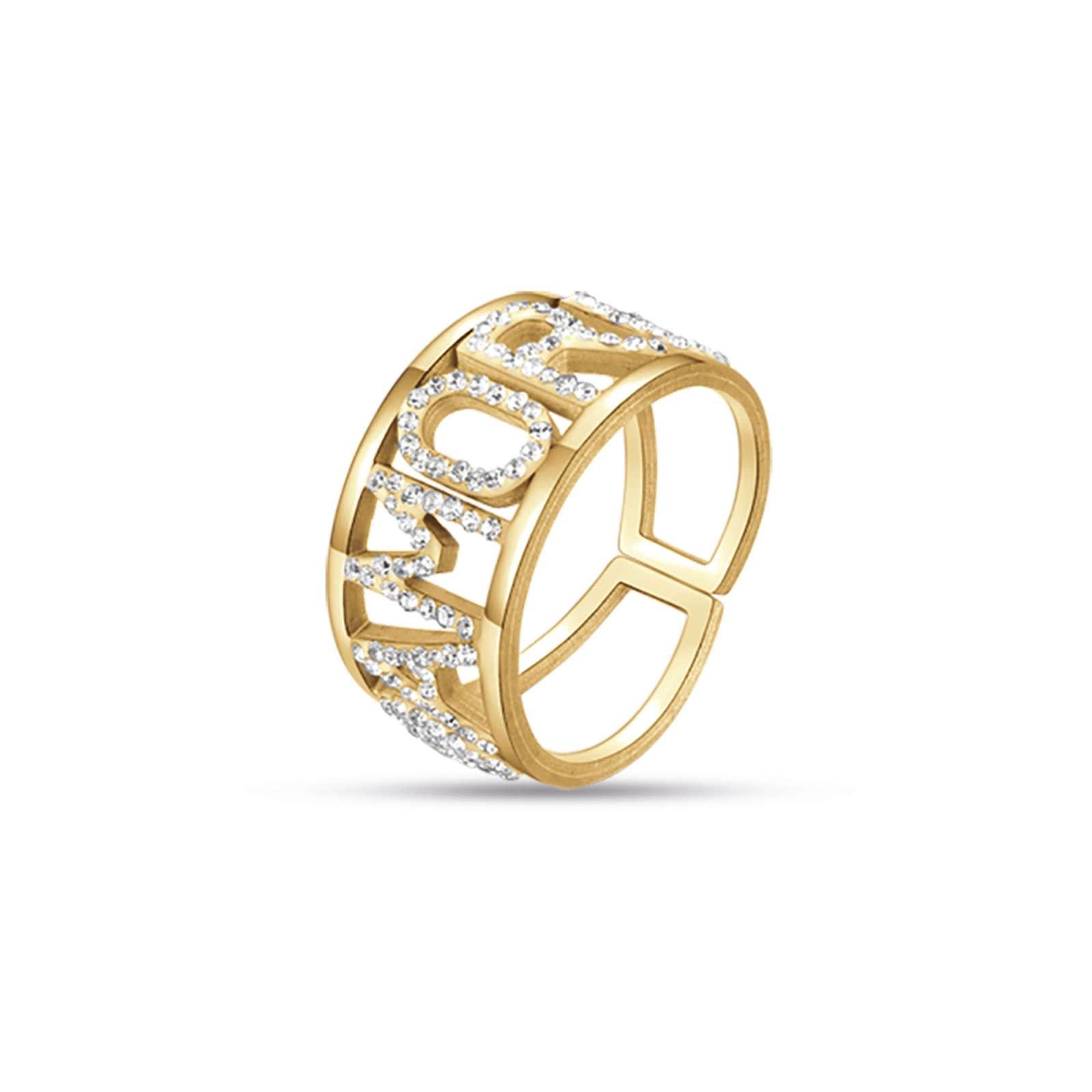 Luca Barra - Anello in acciaio gold amore con cristalli bianchi
