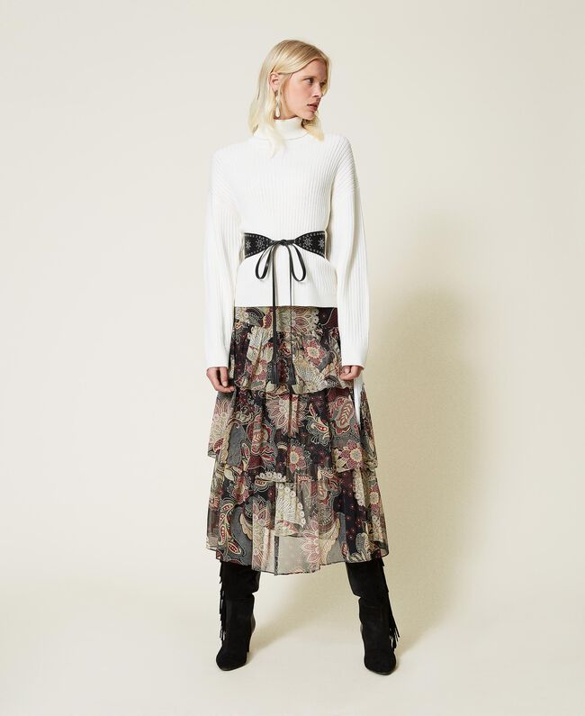 SHOPPING ON LINE TWINSET MILANO MAGLIA DOLCEVITA IN MISTO LANA CON FRANGE  NEW COLLECTION PREVIEW FALL WINTER 2022-2