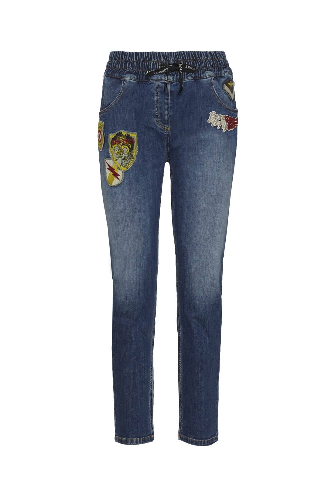 Stretch denim patched jeans