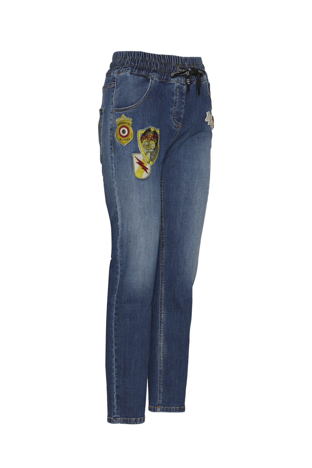 Stretch denim patched jeans              3