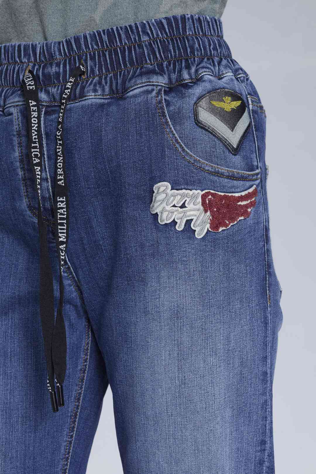 Stretch denim patched jeans              6