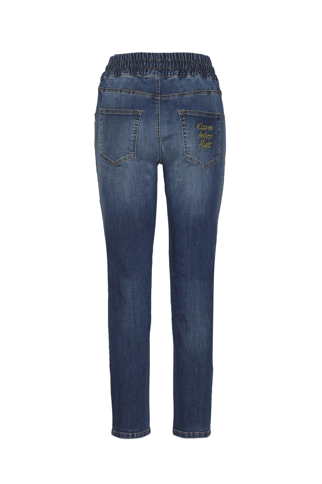 Jeans con patch e coulisse in vita       2