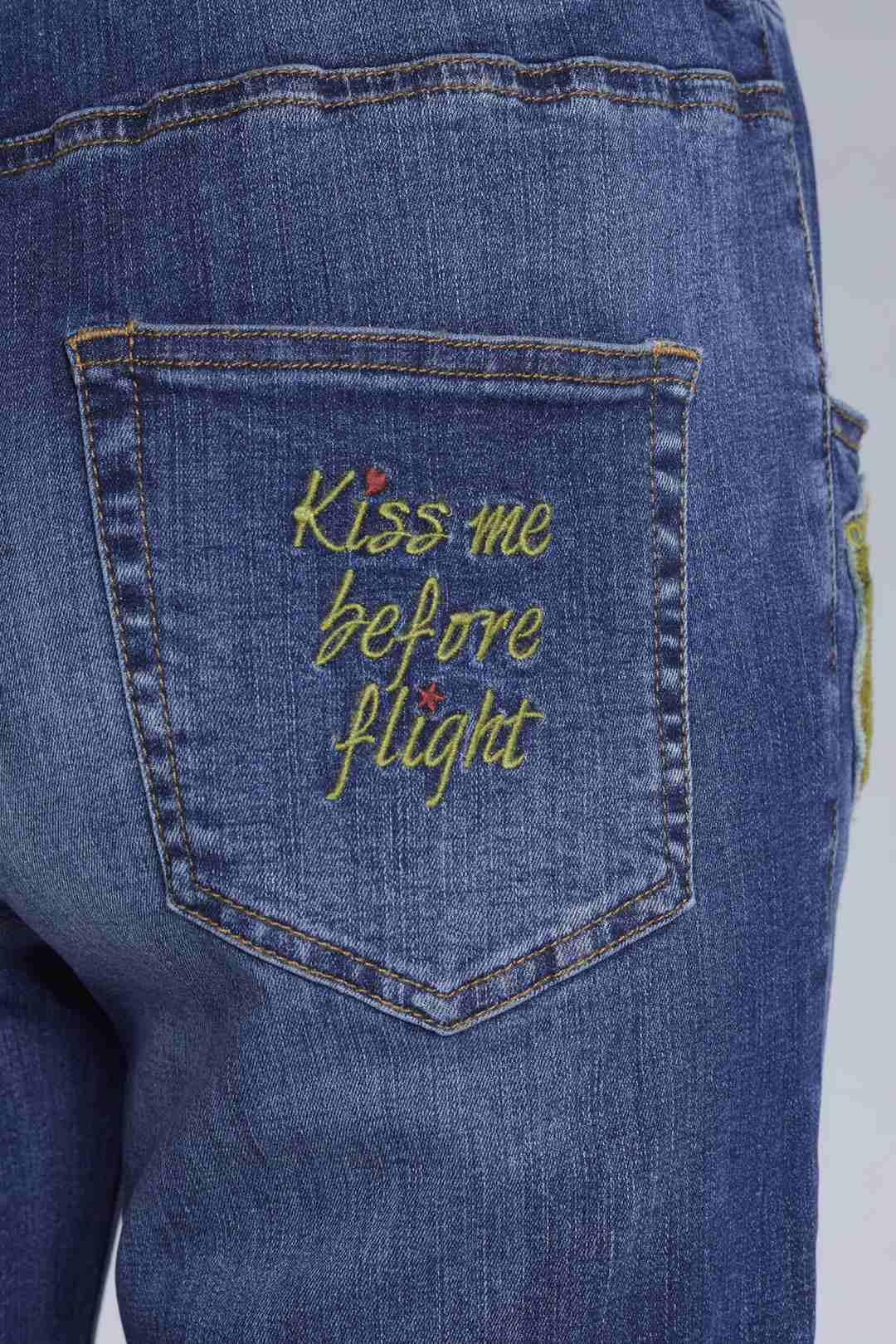 Jeans con patch e coulisse in vita       5