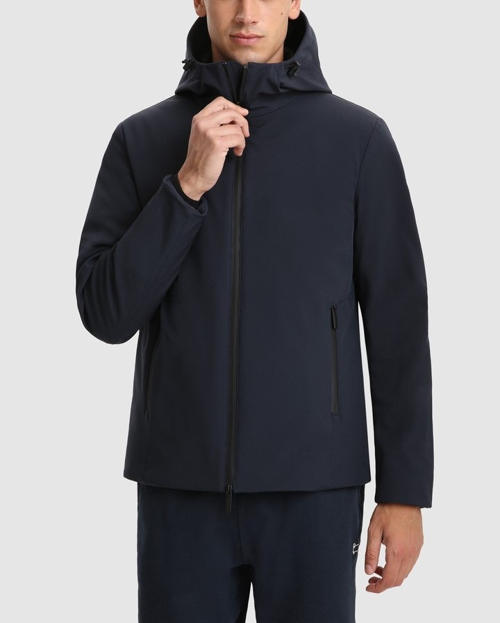 Giacca uomo WOOLRICH PACIFIC IN SOFT SHELL MELTON BLUE