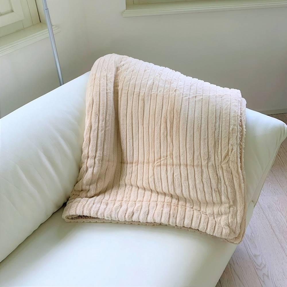 Coperta pelliccia ecologica singola panna