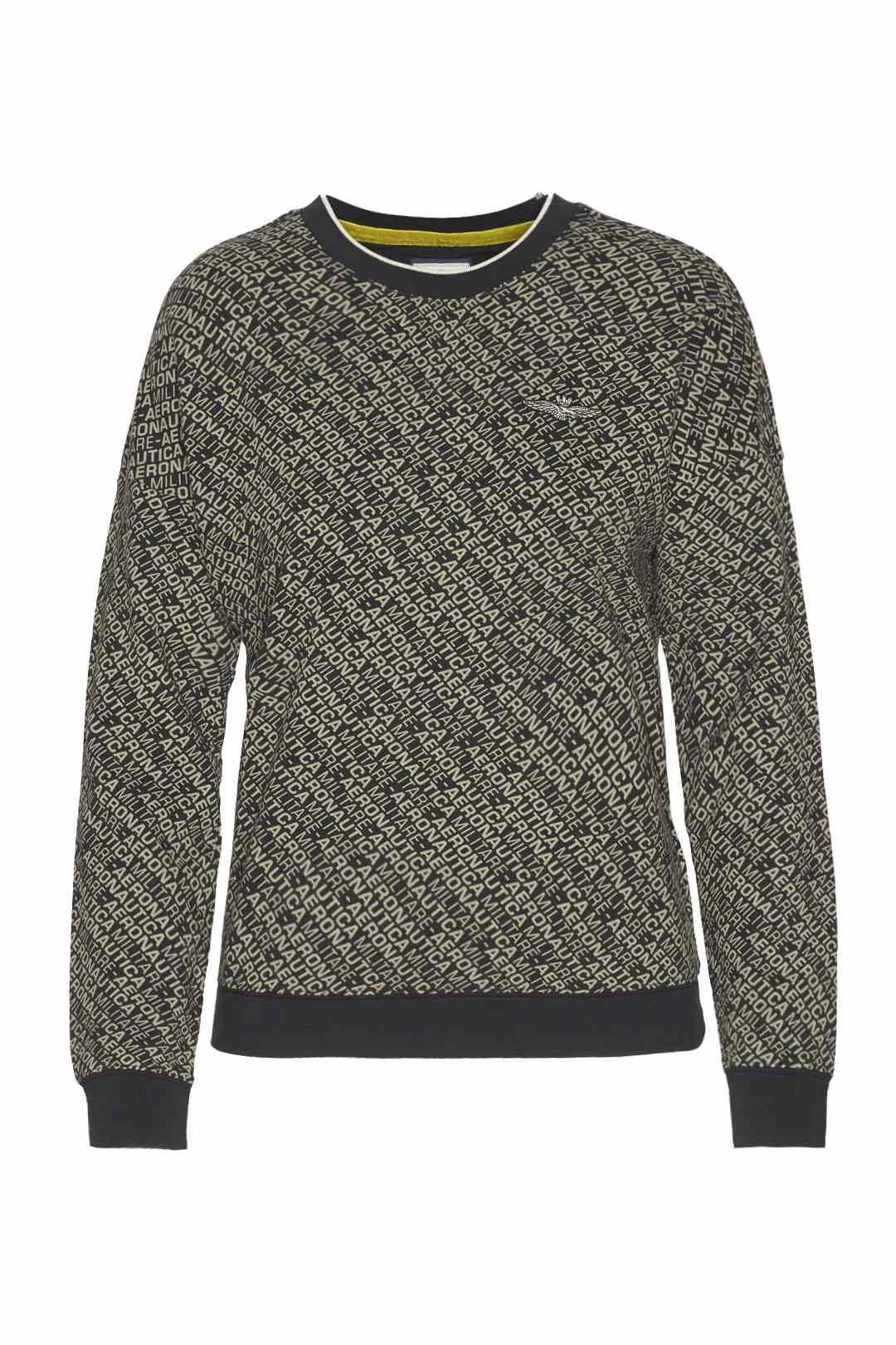 Crew neck sweatshirt with all-over print 1