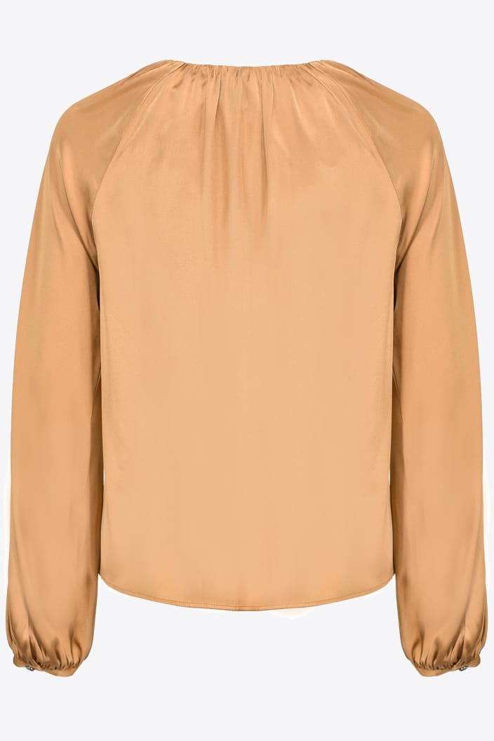 SHOPPING ON LINE PINKO  BLUSA A MANICHE LUNGHE IN STIN STRETCH FAMATINA NEW COLLECTION WOMEN'S FALL/WINTER 2022