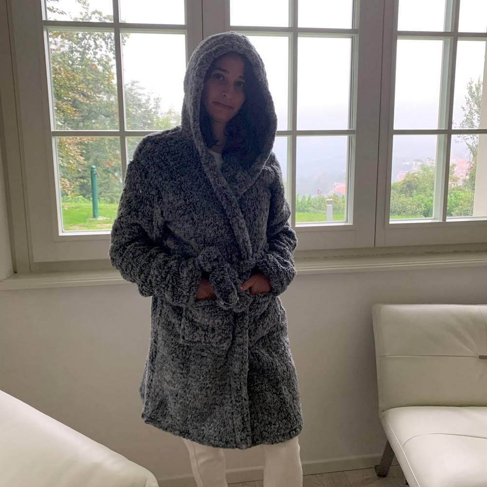 Vestaglietta ricamata grigio Gattino tartan