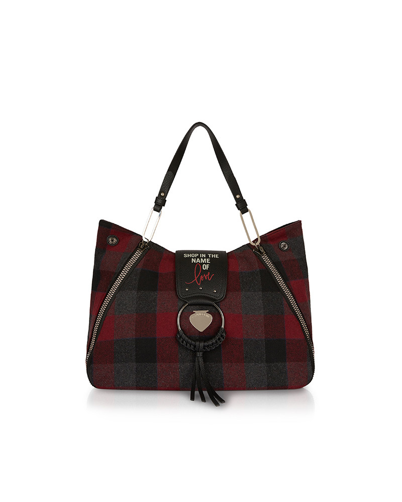 SHOPPING ON LINE LE PANDORINE VICKY LOVE TARTAN BORDEAUX NEW COLLECTION WOMEN'S FALL/WINTER 2022