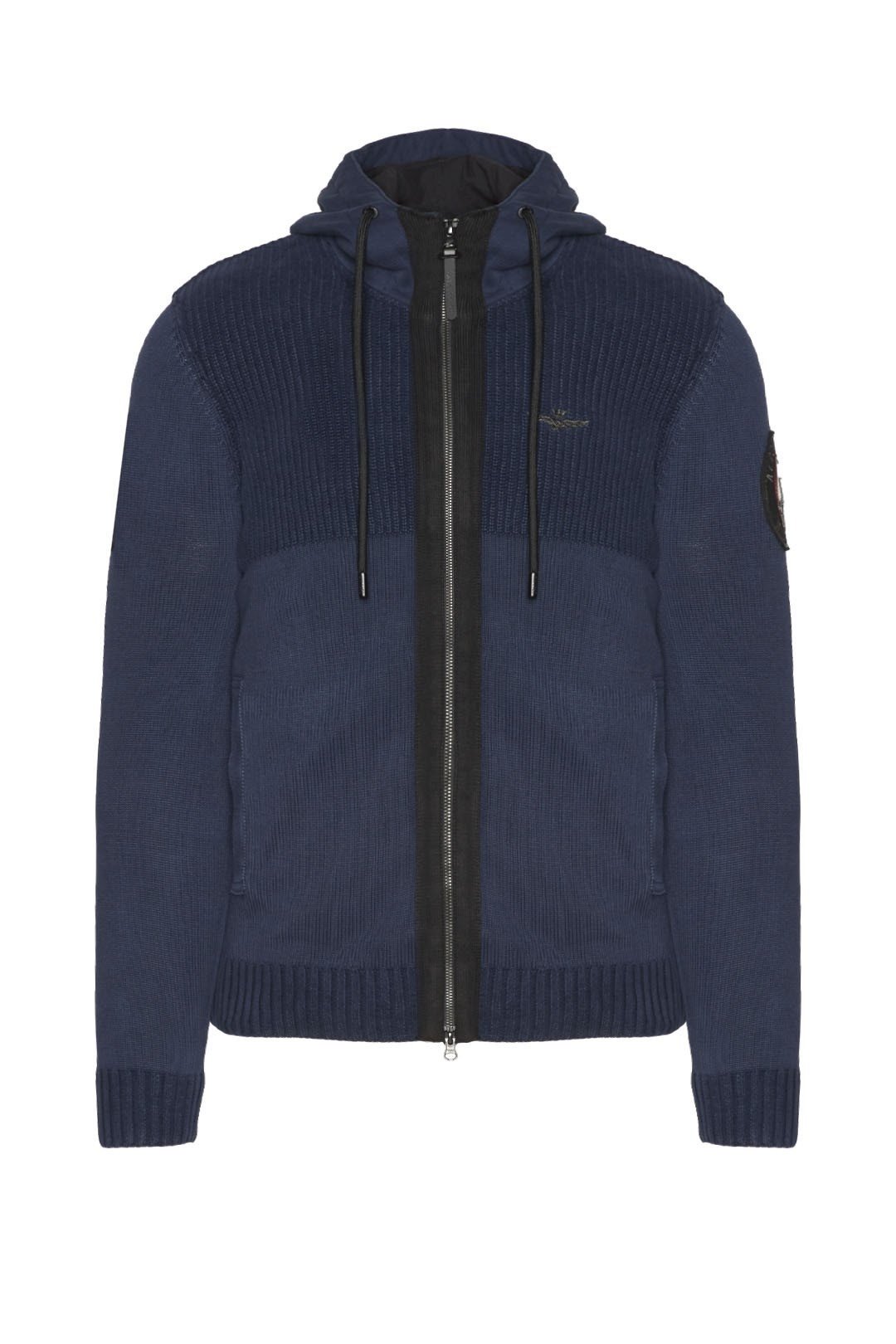 Full-zip hooded cotton sweater
