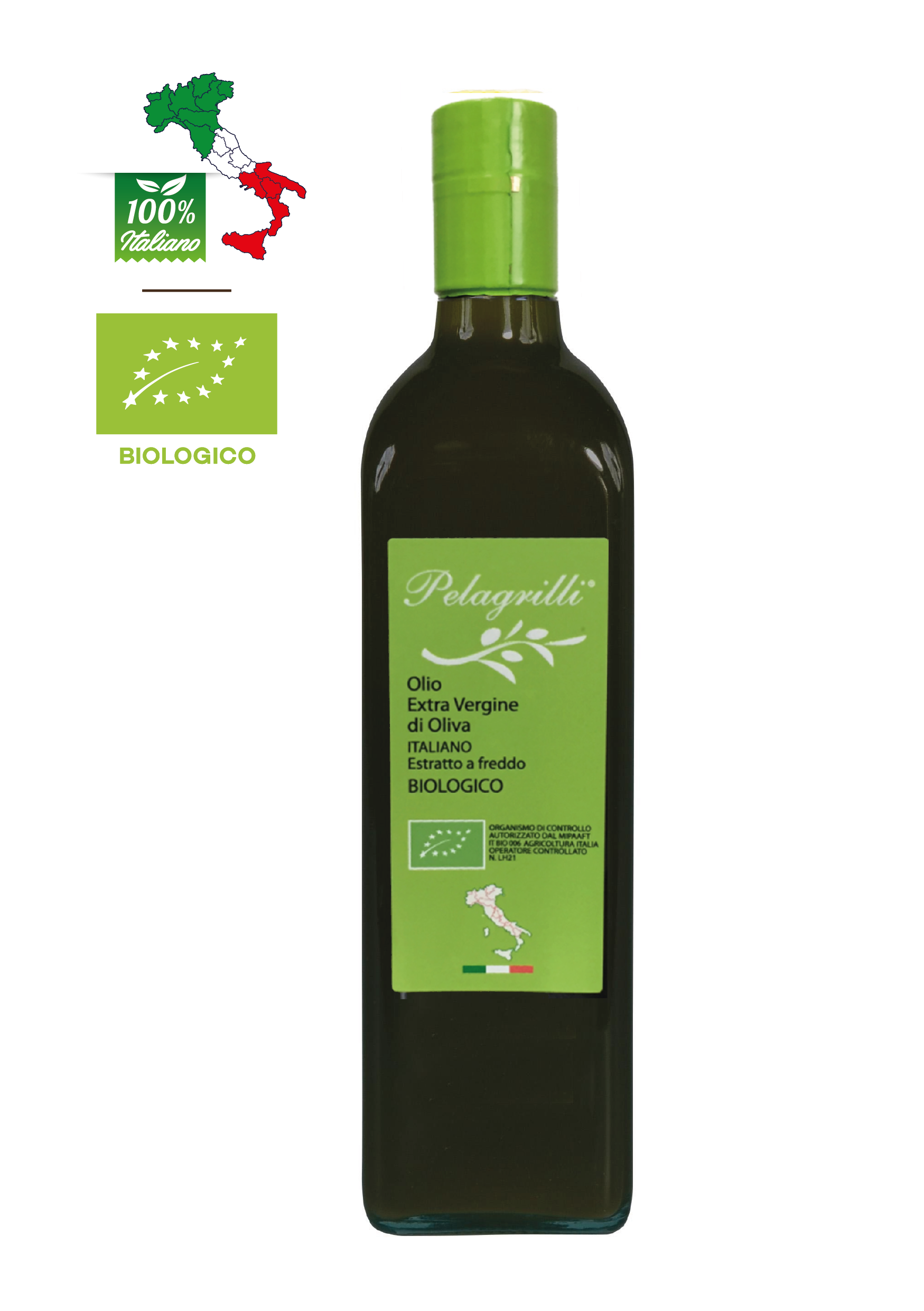 BIOLOGICO 100% ITALIANO Raccolto 2021-2022 LT 0,75  Olio extravergine di oliva - estratto a freddo - FILTRATO