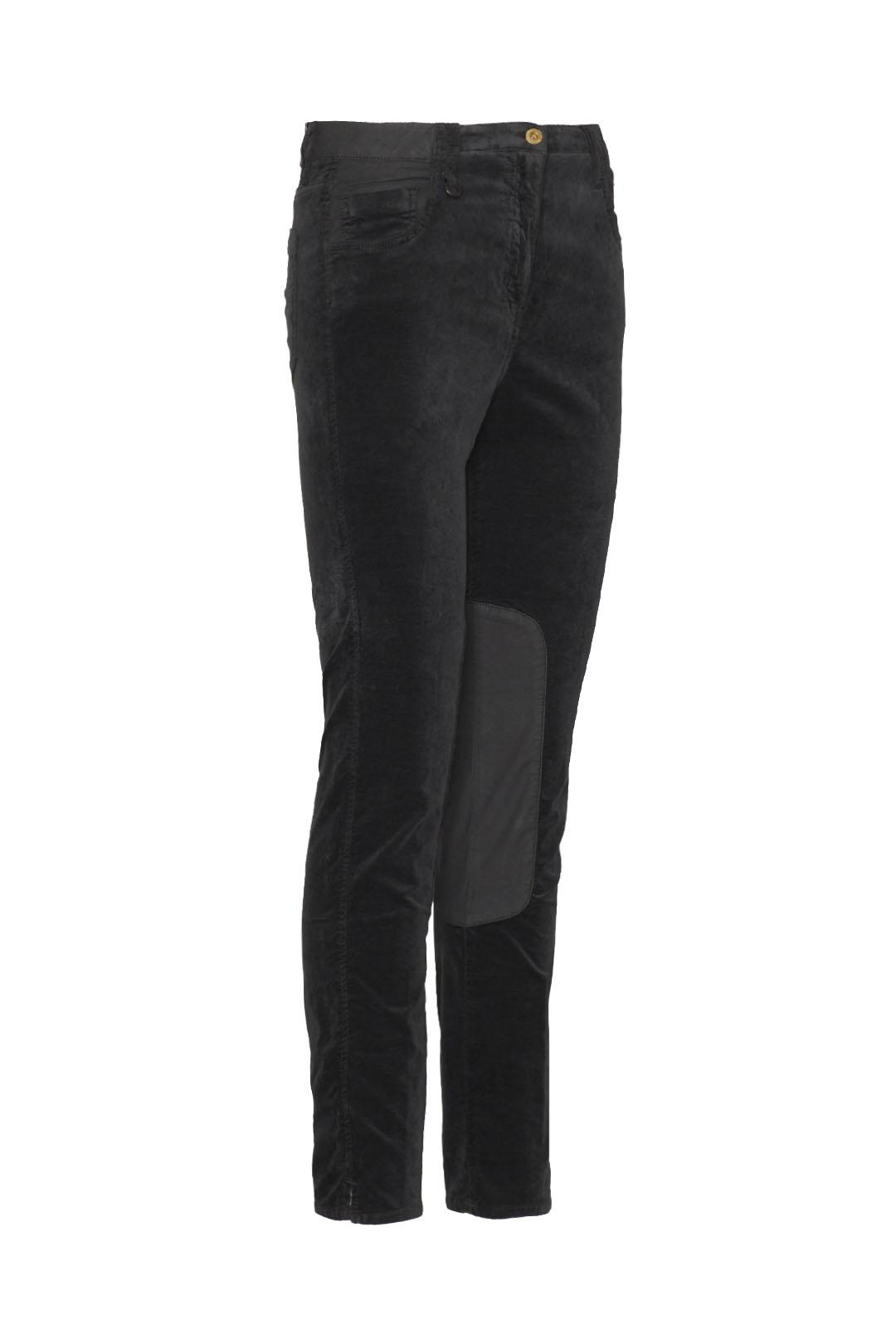 5-pockets velvet trousers with satin     3