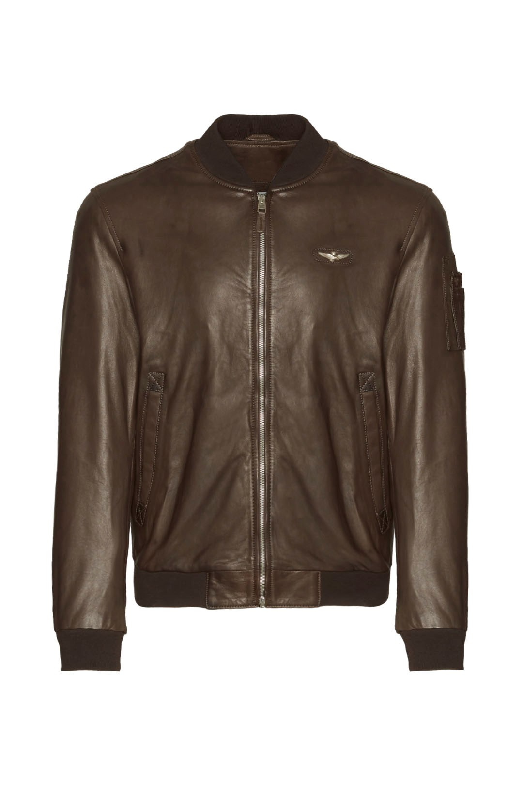 Soft leather jacket with metal eagle     1
