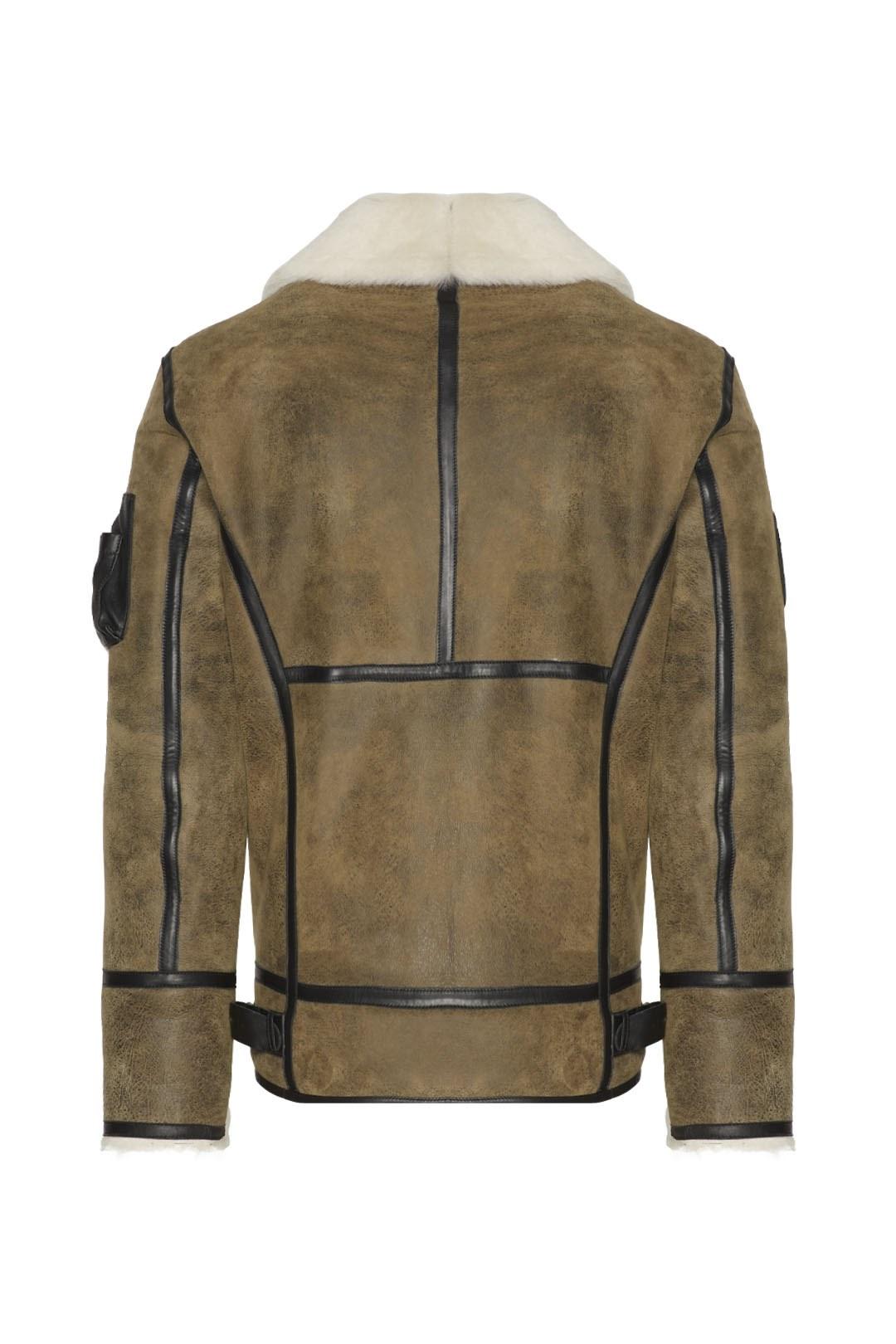 Aviator sheepskin jacket with patches    2