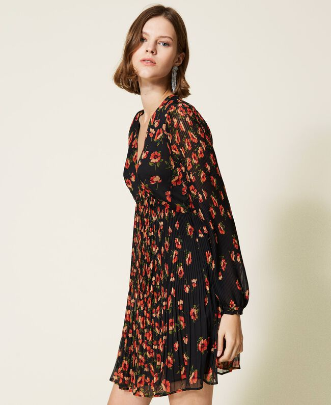 SHOPPING ON LINE TWINSET MILANO ABITO IN CREPONNE STAMPATO A FIORI NEW COLLECTION PREVIEW FALL WINTER 2022