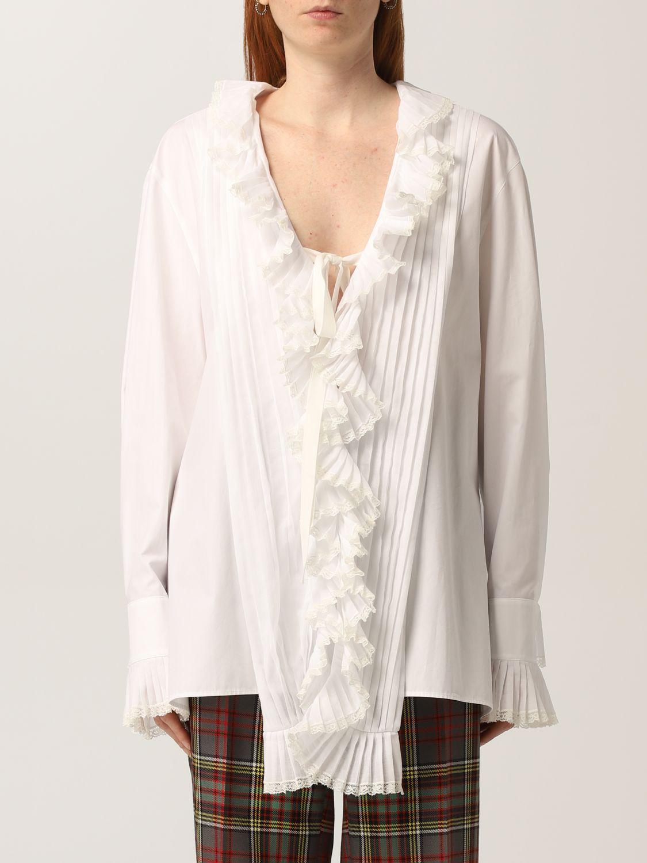 Camicia bianca con ruches plissettate Philosophy di Lorenzo Serafini