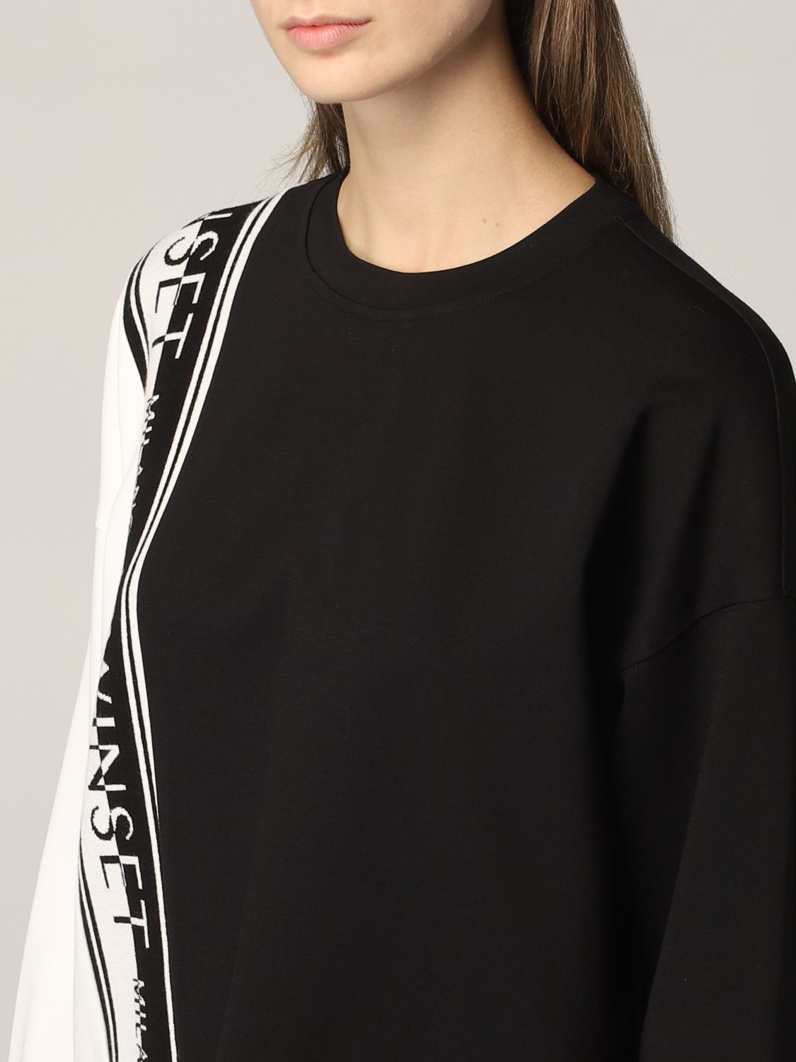 SHOPPING ON LINE TWINSET MILANO FELPA IN MAGLIA CON LOGO NEW COLLECTION PREVIEW FALL WINTER 2022