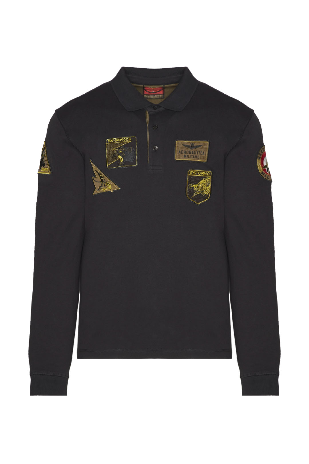 Long-sleeved polo shirt with patches