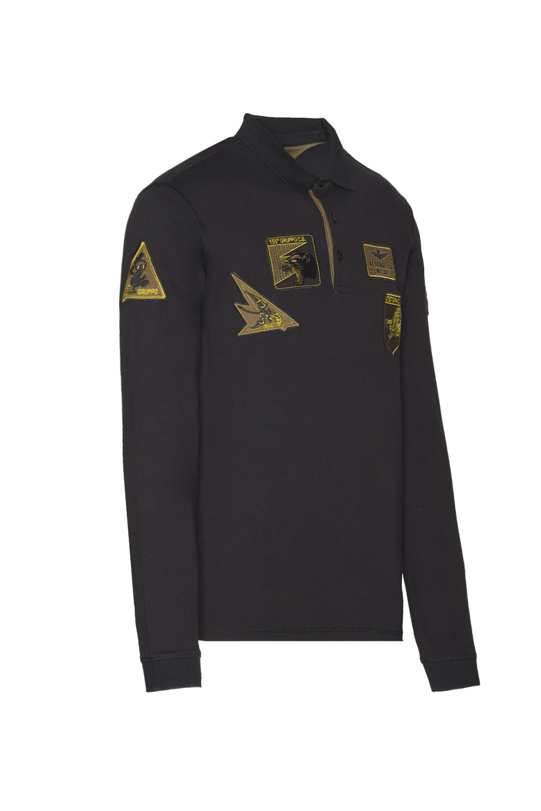 Long-sleeved polo shirt with patches     3