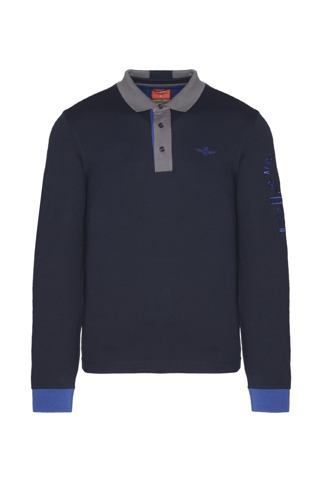Long-sleeved polo shirt with contrasts   1
