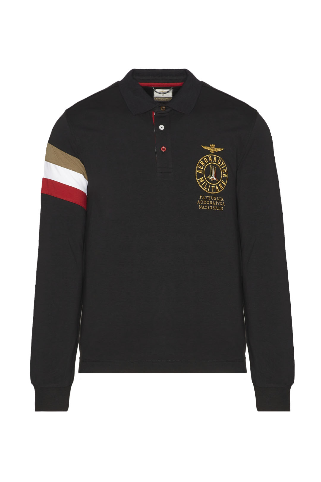 Long-sleeved tricolor polo shirt         1