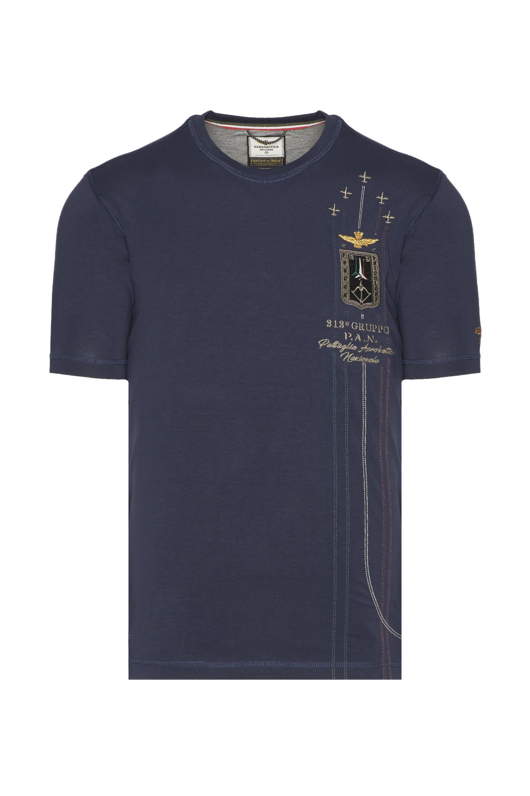 T-shirt with tricolor embroidery         1