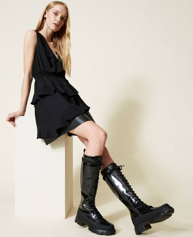 SHOPPING ON LINE TWINSET MILANO ANFIBI ALTI IN VERNICE NEW COLLECTION PREVIEW FALL WINTER 2022