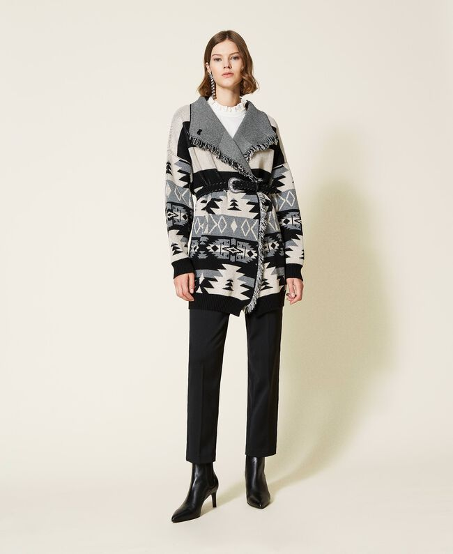 SHOPPING ON LINE TWINSET MILANO CARDIGAN COAT JACQUARD CON FRANGE NEW COLLECTION PREVIEW FALL WINTER 2022