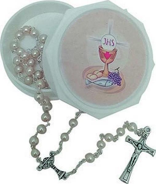 Corona rosario comunione in vetro con cofanetto
