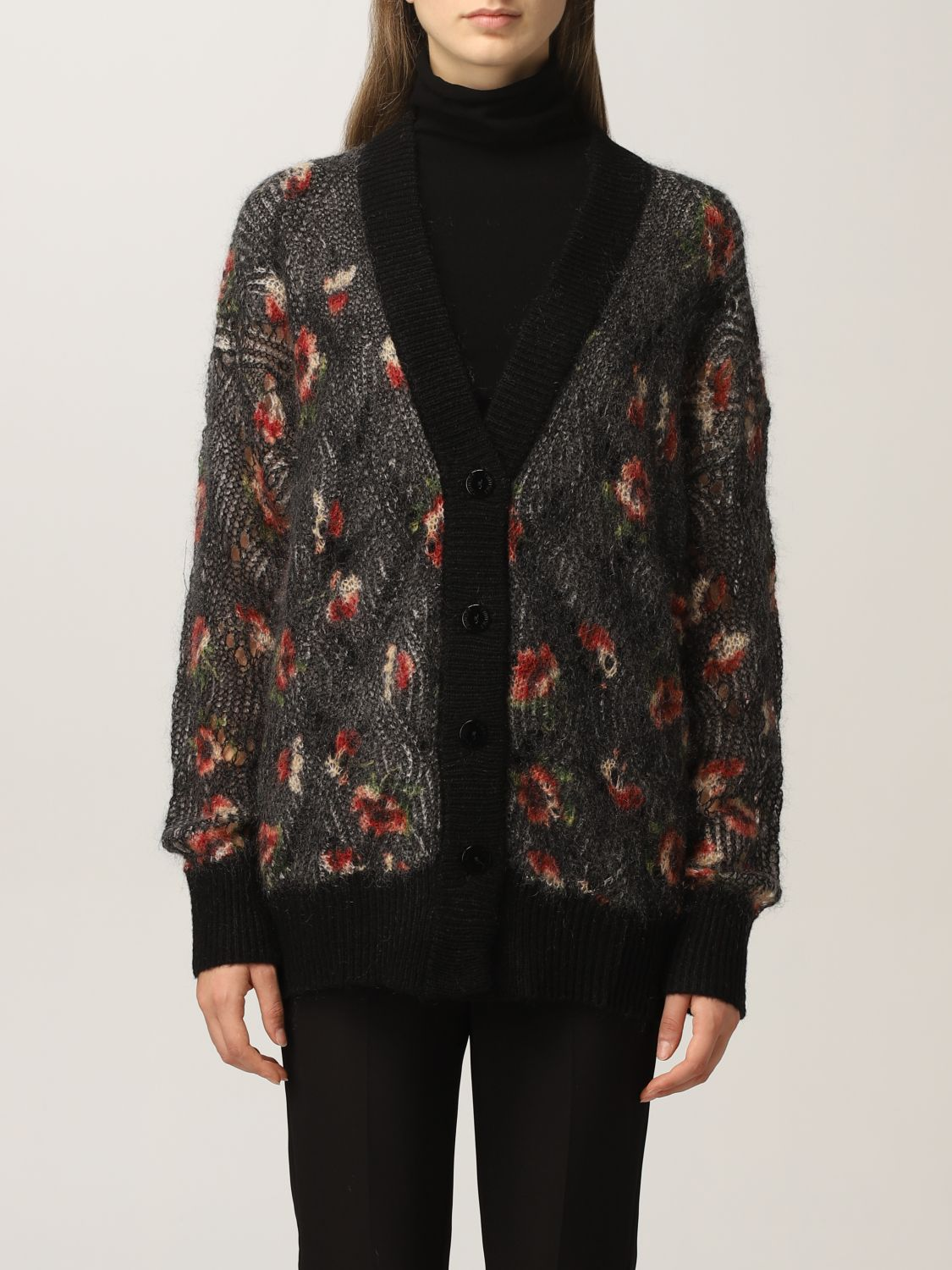 SHOPPING ON LINE TWINSET MILANO CARDIGAN IN MOHAIR STAMPATO NEW COLLECTION PREVIEW FALL WINTER 2022