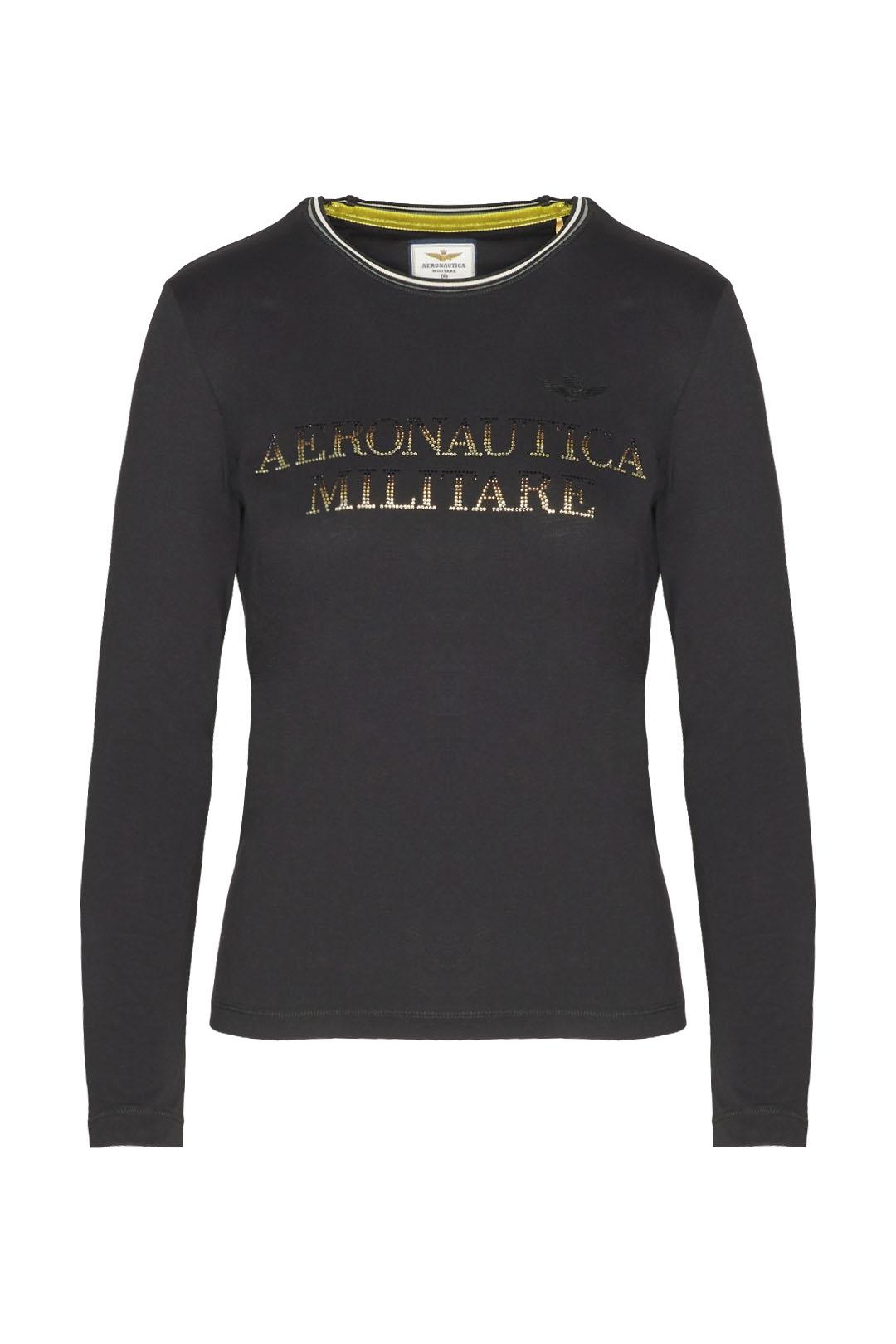 Long sleeve t-shirt with rhinestones     1