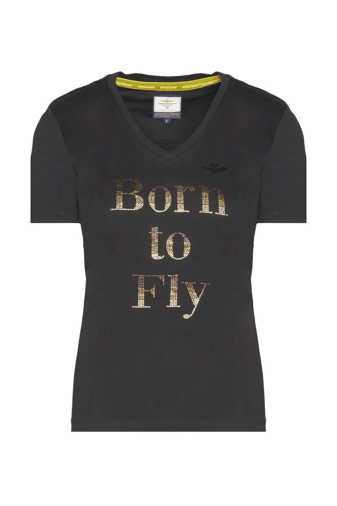 T-Shirt mit V-Ausschnitt und Strass
