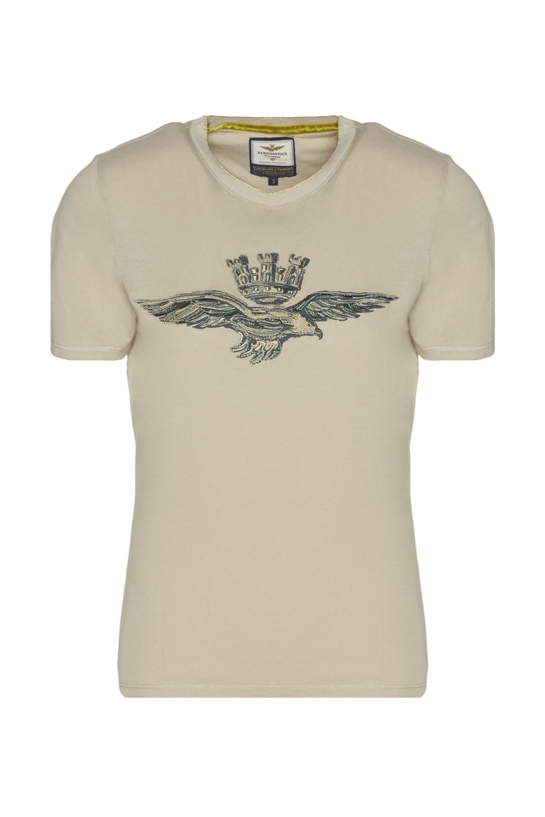 T-shirt girocollo con Aquila ricamata    1