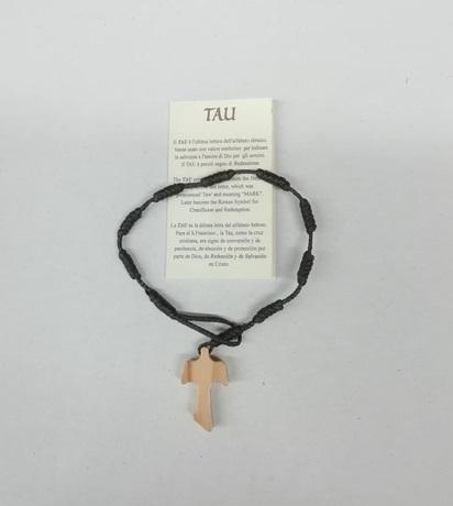 Braccialetto in corda con croce in ulivo