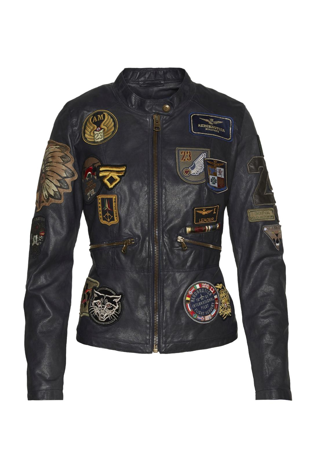 Giacca in pelle multipatch               1