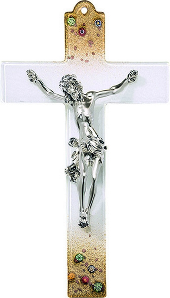 Croce in vetro di Murano cm. 20 corpo metallo