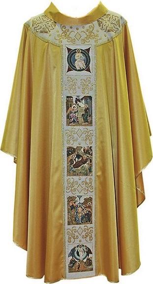 Casula in poliestere oro con pallio Vita di Cristo